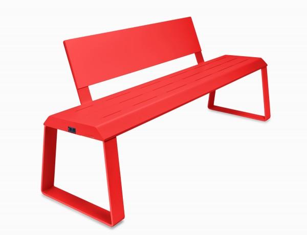 Elektrisch beheizte und temperaturgeregelte Outdoor-Sitzbank